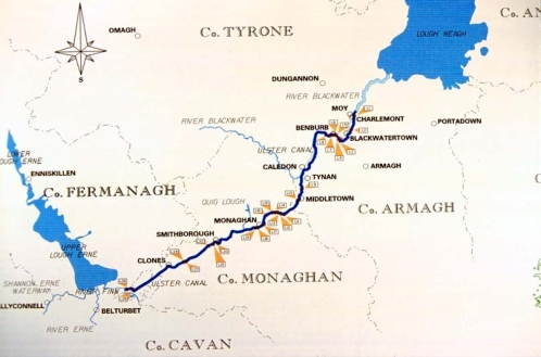 route map Belturbet to Lough Neagh